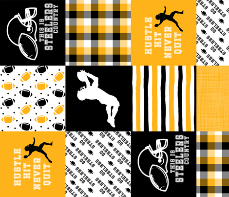 Football//Hustle Hit Never Quit Steelers - Wholecloth Cheater Quilt - Rotated fabric by longdogcustomdesigns on Spoonflower - custom fabric