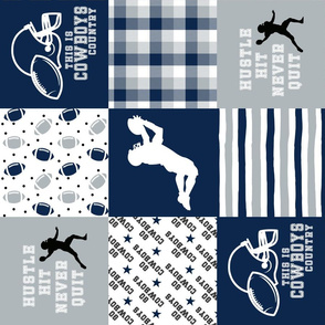 Football//Hustle Hit Never Quit - Cowboys - Wholecloth Cheater Quilt - Rotated