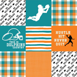 Football//Hustle Hit Never Quit Dolphins - Wholecloth Cheater Quilt