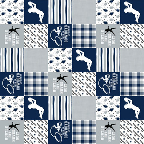 3 Inch Football//Hustle Hit Never Quit - Cowboys - Wholecloth Cheater Quilt - Rotated