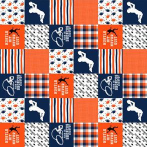 3 inch Football//Hustle Hit Never Quit Broncos - Wholecloth Cheater Quilt - Rotated