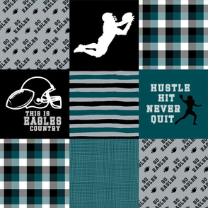 Football//Hustle Hit Never Quit - Eagles - Wholecloth Cheater Quilt