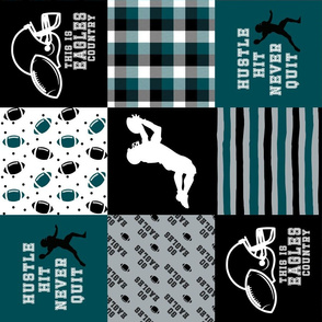 Football//Hustle Hit Never Quit Eagles - Wholecloth Cheater Quilt - Rotated