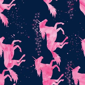 watercolor unicorns || pink on navy (90)