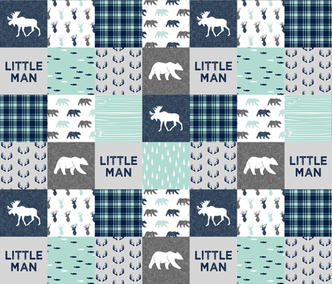 Little Man - Woodland Patchwork - Fishing, Bear, and Moose  fabric by littlearrowdesign on Spoonflower - custom fabric