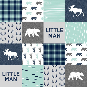 Little Man - Woodland Patchwork - Fishing, Bear, and Moose