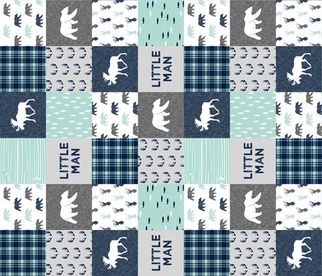 Little Man - Woodland Patchwork - Fishing, Bear, and Moose (90) fabric by littlearrowdesign on Spoonflower - custom fabric
