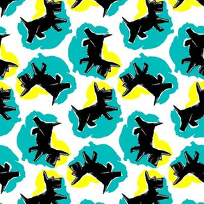 1950's Style Scottie Dog in Yellow and Turquoise