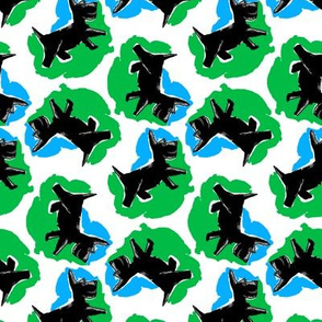 1950's Style Scottie Dog in Blue and Green