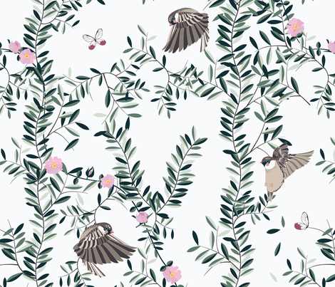 The Singing Birds fabric by stefaniapochesci on Spoonflower - custom fabric