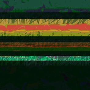 Modern Retro: Green Scribble Horizontal Stripes, Green