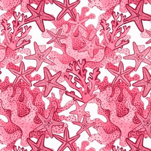 Coral and starfish // pink watercolor coral reef