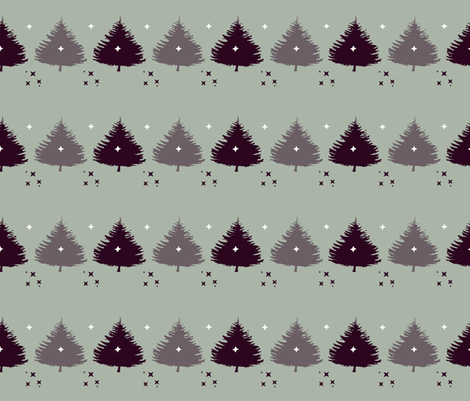 Christmas trees with stars fabric by tink-a-bel on Spoonflower - custom fabric