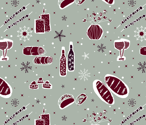 Winter-Dinner-Party fabric by vingog on Spoonflower - custom fabric
