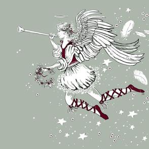 Elegant Christmas Angel Wreath Feathers with companion 2