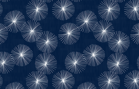 Dandelions Navy & White by Friztin fabric by friztin on Spoonflower - custom fabric