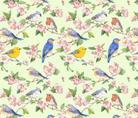 Watercolor Songbirds fabric by alexisseabrook on Spoonflower - custom fabric