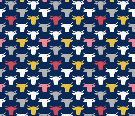 Cow Heads-  Pink, Gold, Navy fabric by fernlesliestudio on Spoonflower - custom fabric
