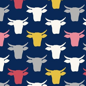 Cow Heads-  Pink, Gold, Navy
