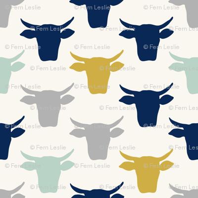 Cow Heads  -  Aqua, Gold, Navy, H White