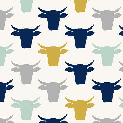 Cow Heads  -  Aqua, Gold, Navy, H White fabric by fernlesliestudio on Spoonflower - custom fabric