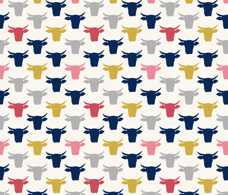 Cow Heads - Pink, Gold, Navy, H  White fabric by fernlesliestudio on Spoonflower - custom fabric