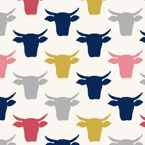 Cow Heads - Pink, Gold, Navy, H  White