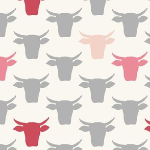 Cow Heads - Pink, Grey, H White