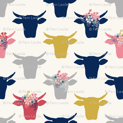 Cow Heads Flowers - Pink, Gold, Navy, H White