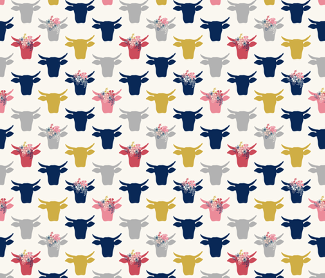 Cow Heads Flowers - Pink, Gold, Navy, H White fabric by fernlesliestudio on Spoonflower - custom fabric