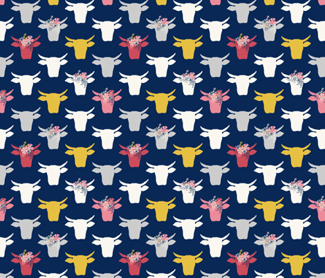 Cow Heads with  Flowers - Pink, Gold, Navy fabric by fernlesliestudio on Spoonflower - custom fabric