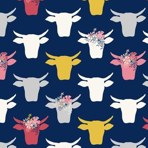 Cow Heads with  Flowers - Pink, Gold, Navy