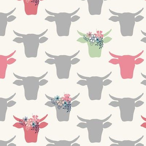 Cow Heads with Flowers - Pink, Grey, Green, H White