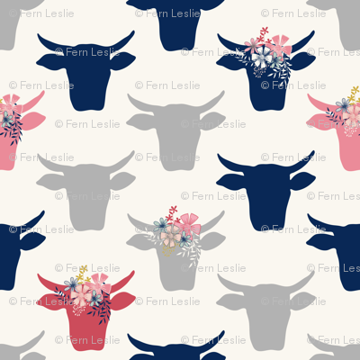 Cow Heads with Flowers - Pink, Grey, Navy, H White