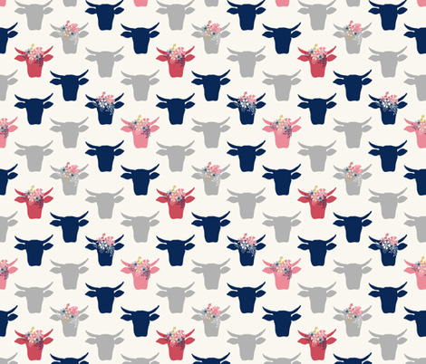 Cow Heads with Flowers - Pink, Grey, Navy, H White fabric by fernlesliestudio on Spoonflower - custom fabric