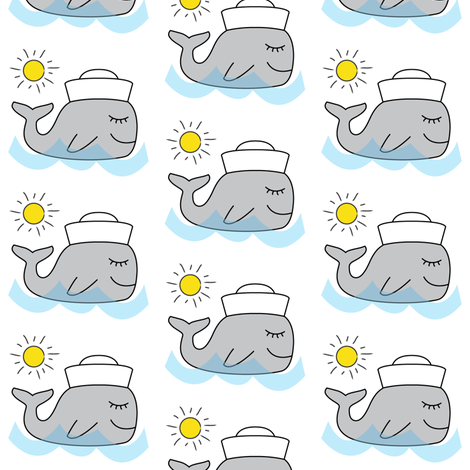 sailor whales fabric by lilcubby on Spoonflower - custom fabric