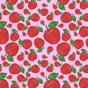 Apple Tumble  Pink Background Basic Repeat