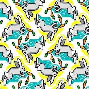 1950s Style Bunny with Carrots in Yellow and Turquoise