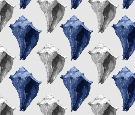 Blue & Gray Conch Shells fabric by lauriekentdesigns on Spoonflower - custom fabric