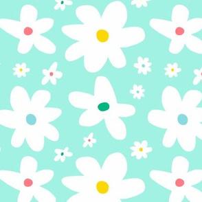Pastel mint daisy flowers large