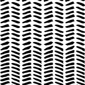 Herringbone Brush - black & white