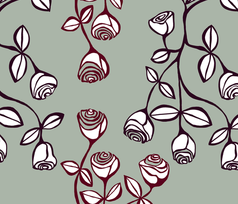 roses - elegant holiday colours fabric by pookeek on Spoonflower - custom fabric