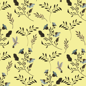 Bluebells and Bluebirds Floral Pattern Flowers in Butter Yellow