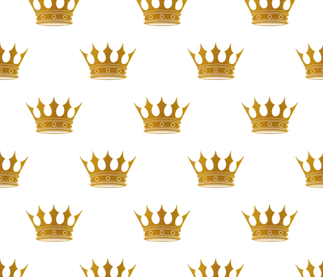 Wedding White Gold Crowns fabric by paper_and_frill on Spoonflower - custom fabric