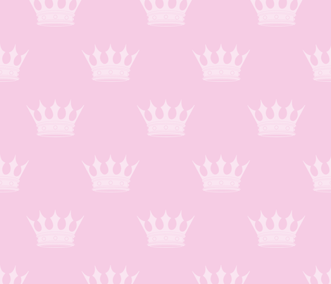 Princess Charlotte Pale Pink Crowns on Pink fabric by paper_and_frill on Spoonflower - custom fabric