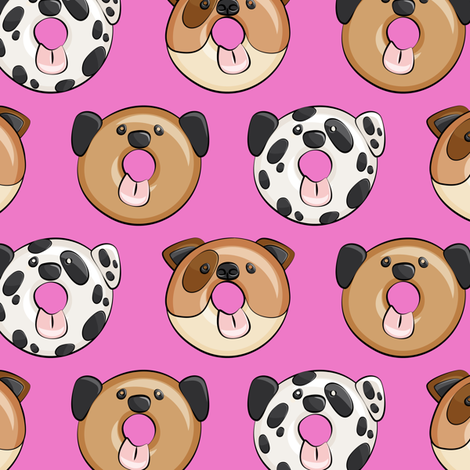 dog donuts - hot pink  fabric by littlearrowdesign on Spoonflower - custom fabric