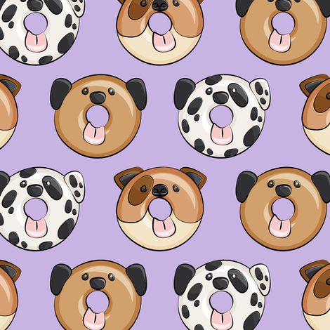 dog donuts - purple fabric by littlearrowdesign on Spoonflower - custom fabric