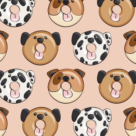 dog donuts - blush fabric by littlearrowdesign on Spoonflower - custom fabric