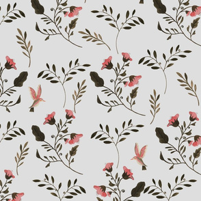 Rose Blossoms and Hummingbirds on Grey