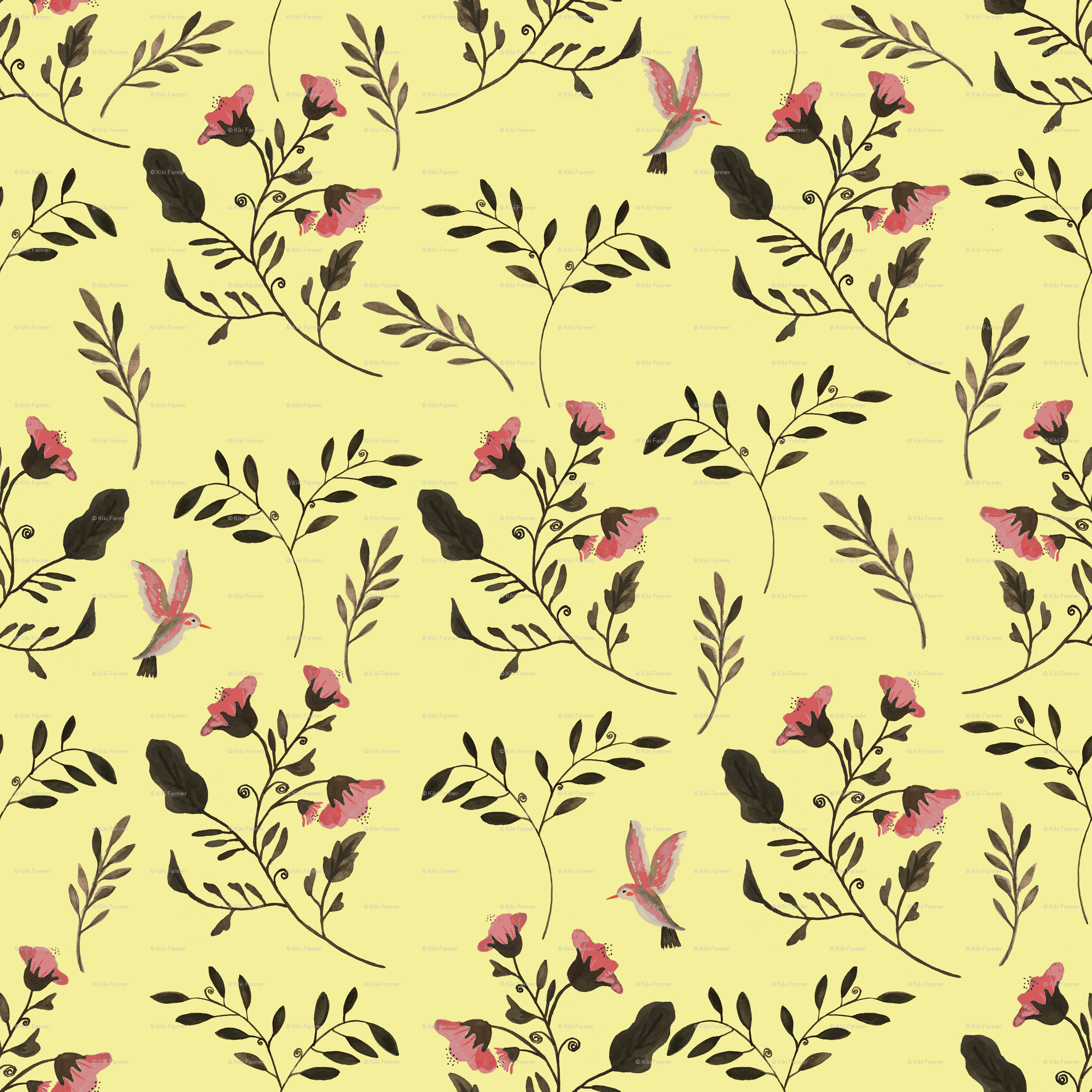 Rose Flowers And Hummingbirds On Butter Yellow Giftwrap